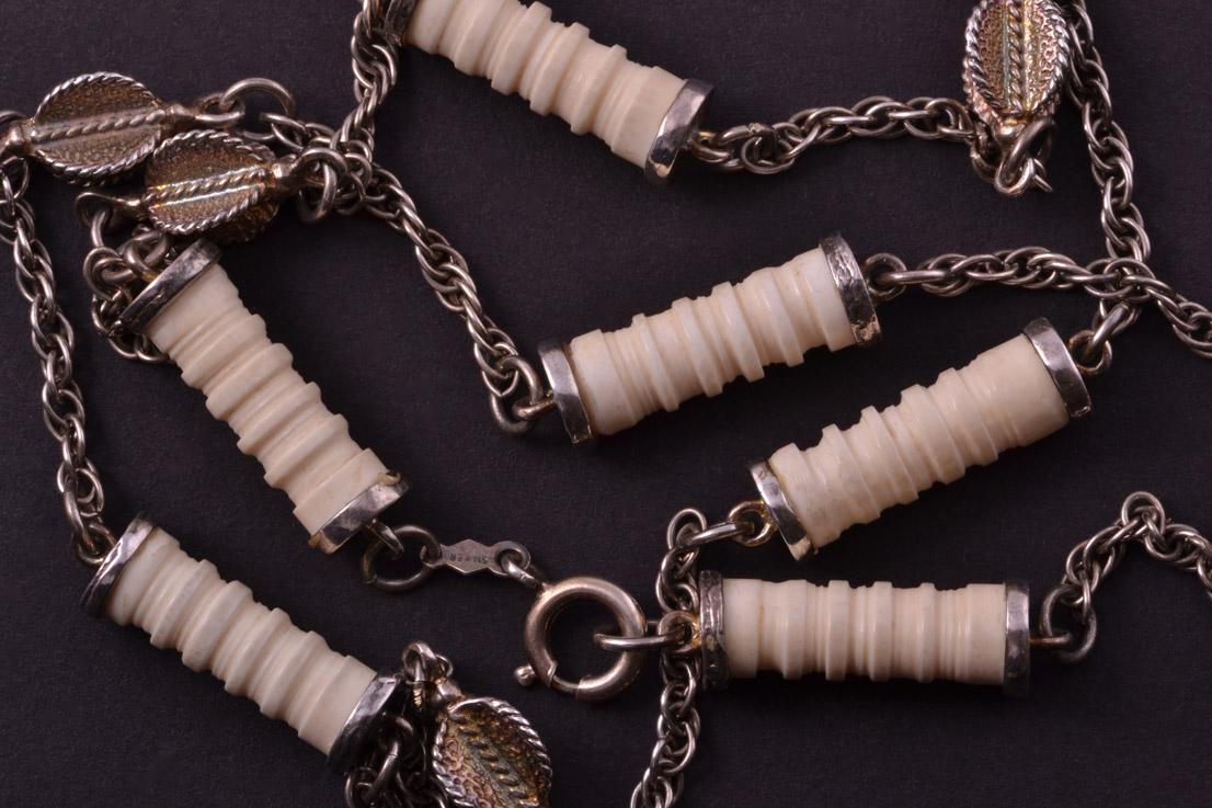 Silver And Ivory Vintage African Necklace