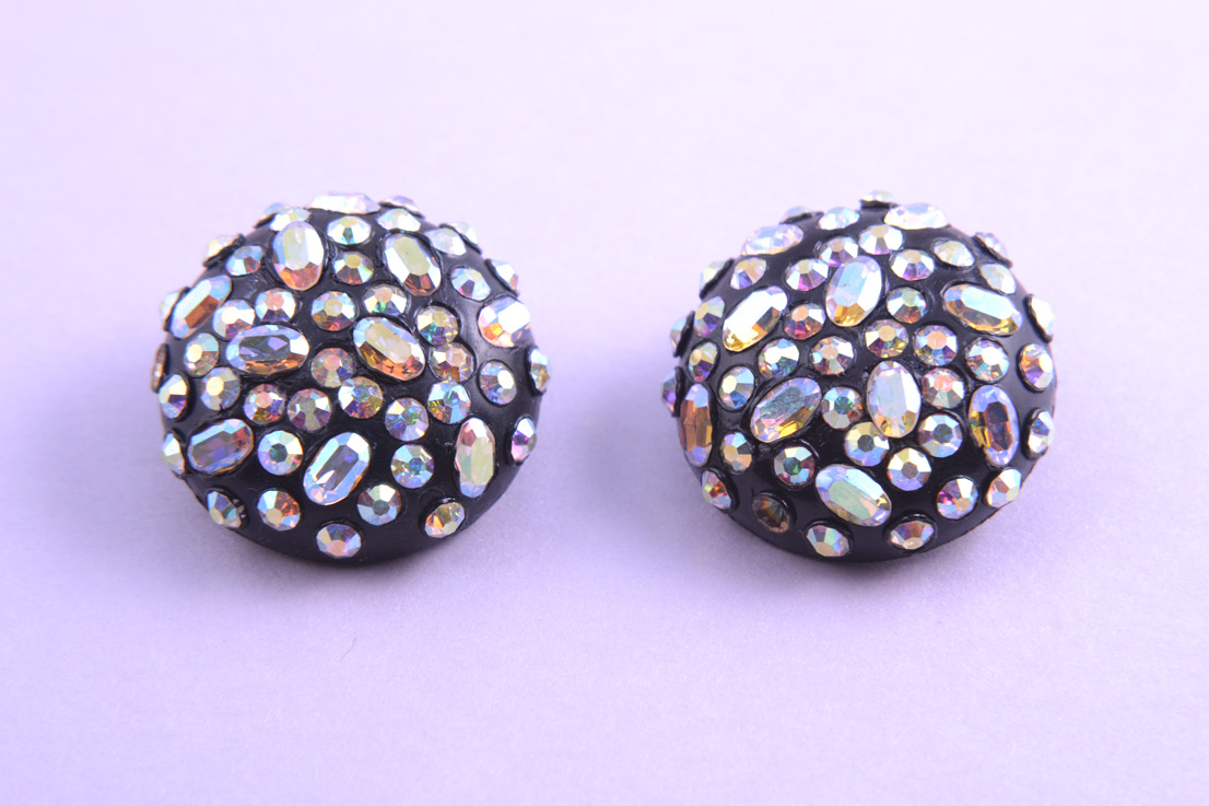 1950's Clip On Earrings With Rainbow Crystal Beads