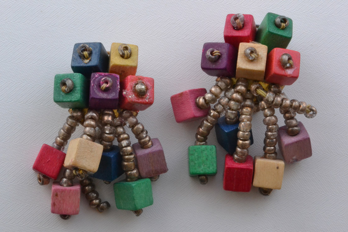 Vintage Clip On Drop Earrings With Wooden Beads