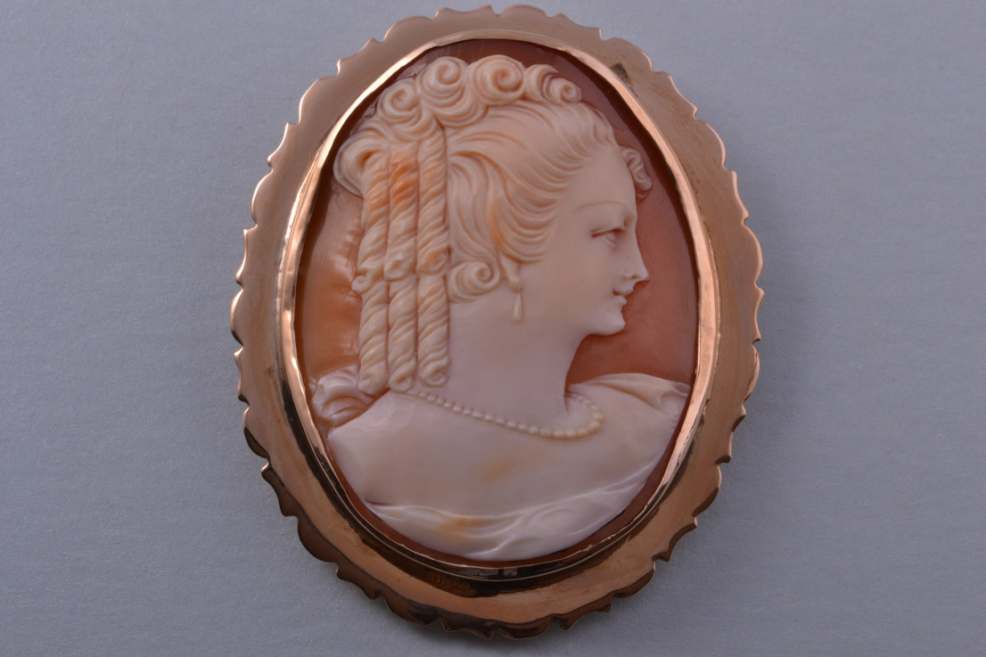 9ct Rose Gold Vintage Brooch With Shell Cameo Vintage
