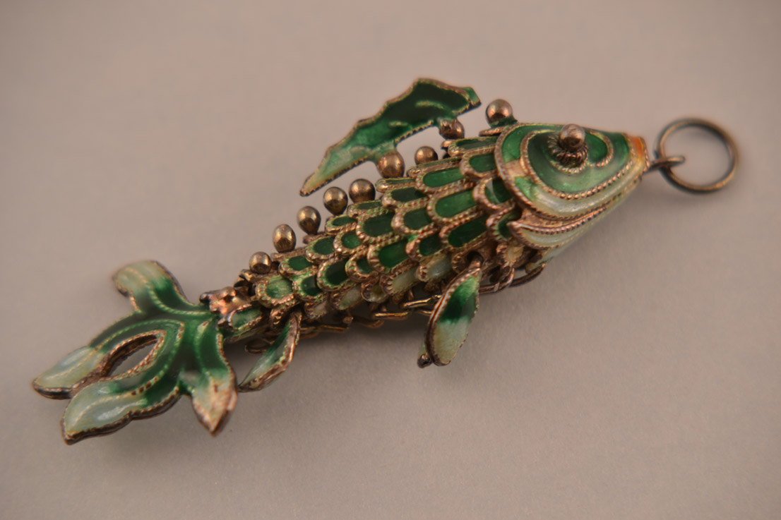 silver and enamel vintage fish charmpendant vintage