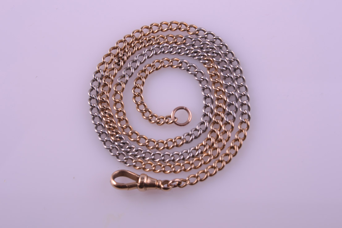 18ct White And Rose Gold 1900's Watch Chain