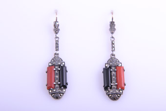 Silver Art Deco Hook Earrings With Marcasite