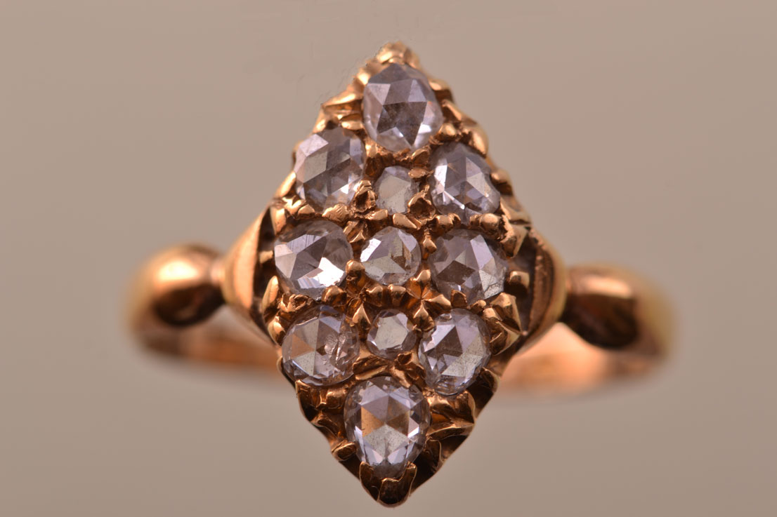18ct Yellow Gold Victorian Navette Ring With Diamonds