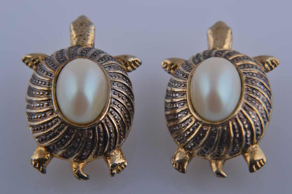 Gilt Tortoise Clip On Earrings With Faux Pearls