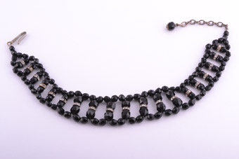 1930 French Jet And White Paste Choker Necklace