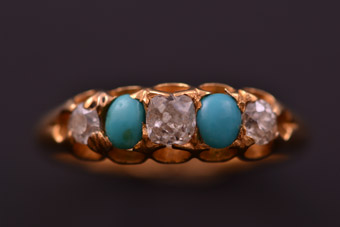 Yellow Gold Victorian Gypsy Ring With Turquoise And Diamonds
