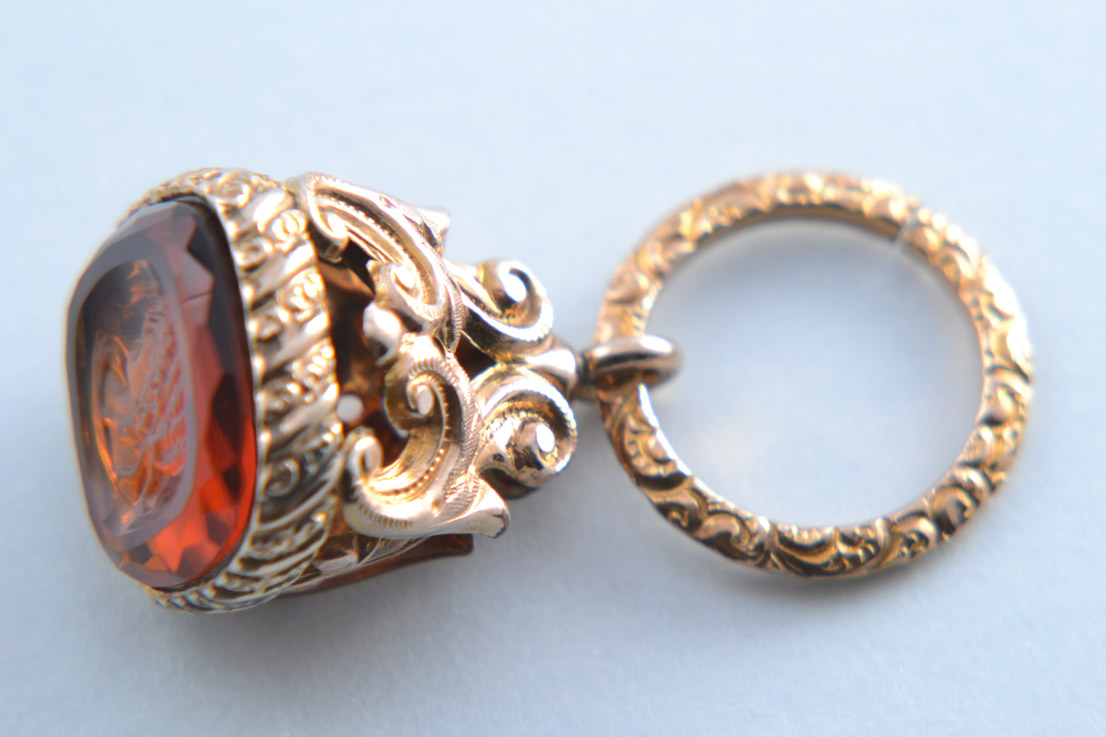Gilt Vintage Seal And Jump Ring