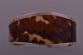Silver Bangle With Tortoise Shell