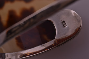 Silver Bangle With Tortoise Shell Contemporary Jewellery