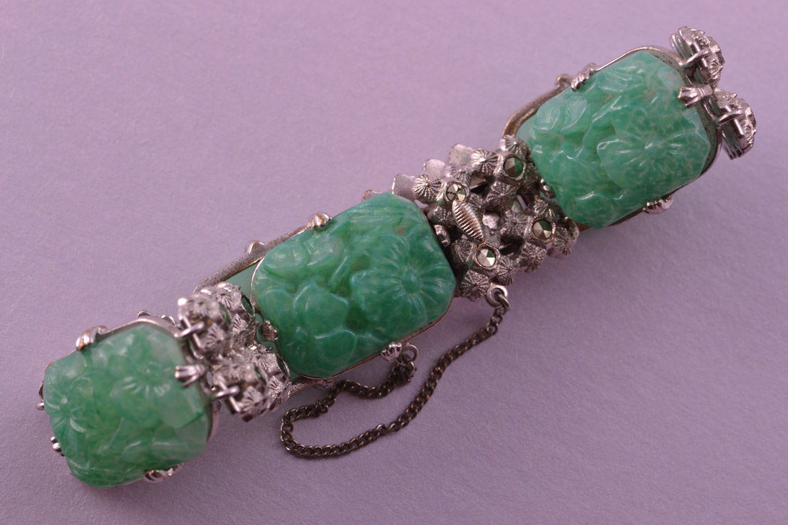 Chrome Art Deco Bracelet With Peking Glass And Marcasite