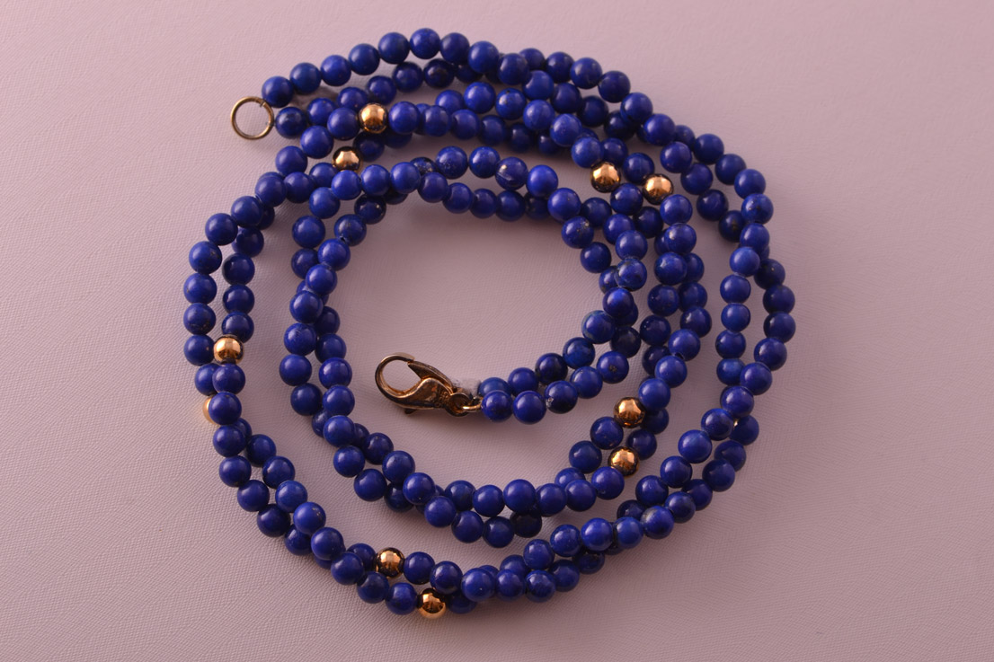 Vintage Necklace With Lapis Lazuli And Gilt Beads