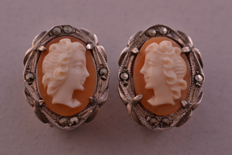 Silver Vintage Clip On Earrings With Cameos And Marcasite