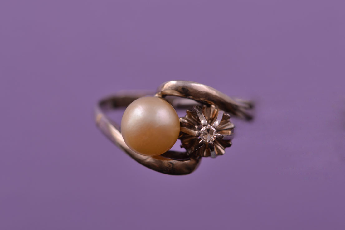White Gold Vintage Portuguese Ring With A Pearl And Diamond