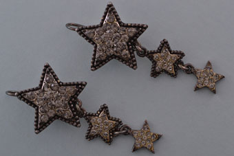 Modern Drop Hook Star Poggi Paris Earrings With Paste