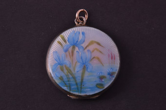 Silver And Enamel Vintage Opening Locket