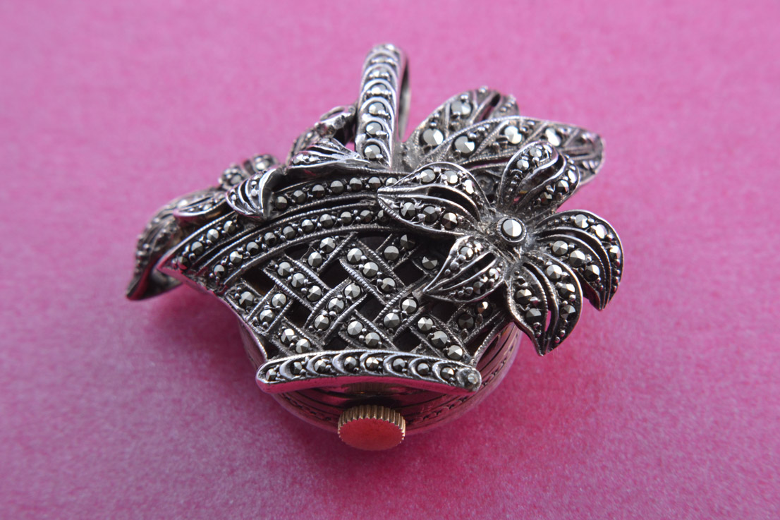 Silver 1950's Flower Pendant / Watch With Marcasite