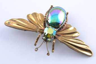 Gilt Vintage Butterfly Brooch With Paste