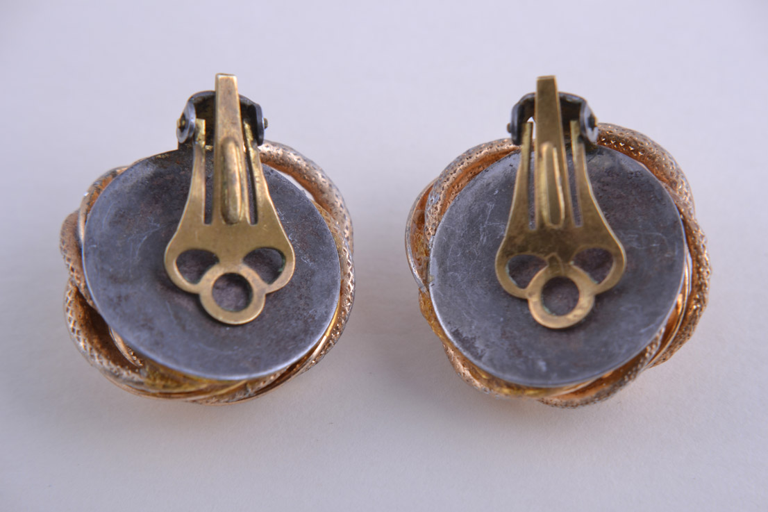 Gilt 1960 S Clip On Earrings With Engraving Vintage