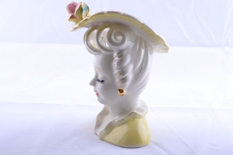Glazed Lady Head Vase