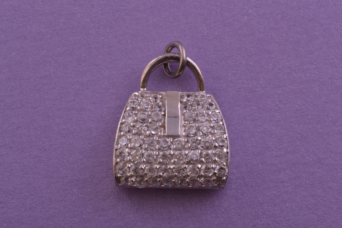 Silver Modern Handbag Purse Charm With Cubics