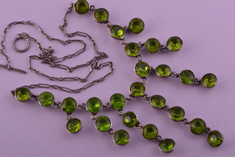 Silver And Glass 1930's Necklace