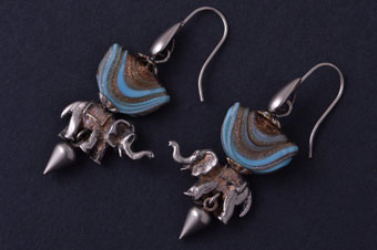 Silver Vintage Elephant Drop Hook Earrings With Murano-Type Glass Beads