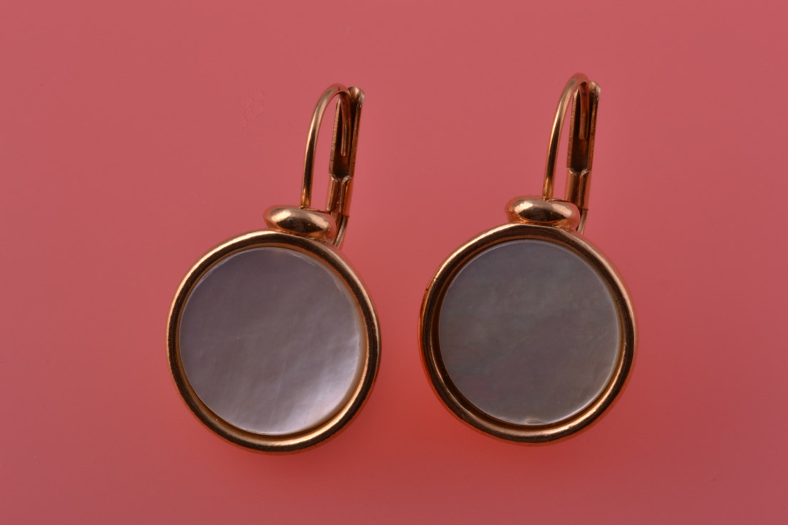 Gilt And Mother-Of-Pearl Modern Hook Earrings