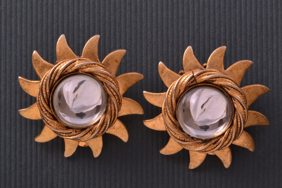 Gilt Vintage Askew Star Clip On Earrings With Paste