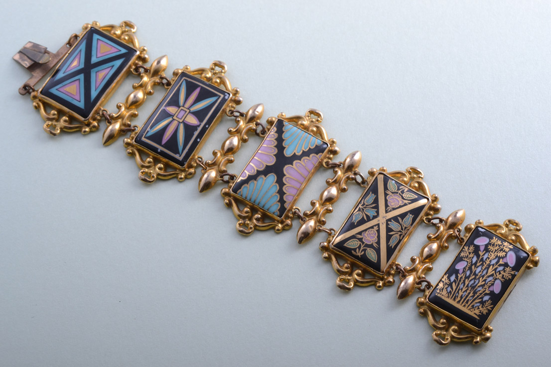 Gilt And Porcelain Victorian Bracelet