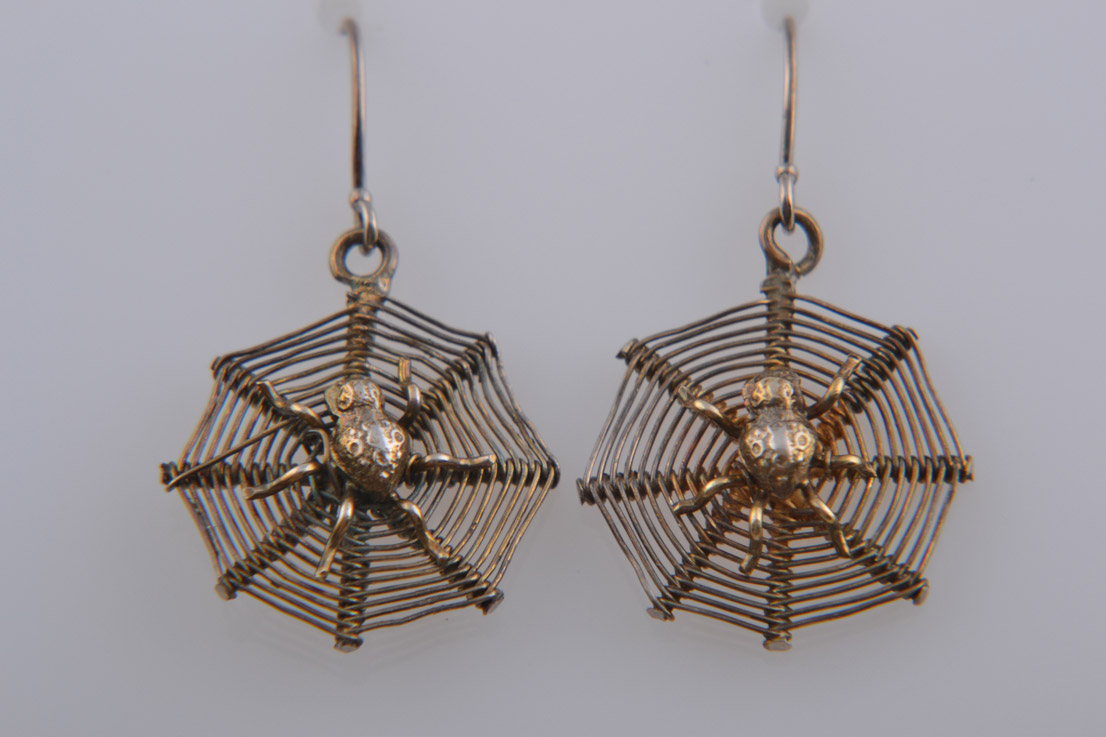 Silver Gilt Victorian Spider Hook Earrings