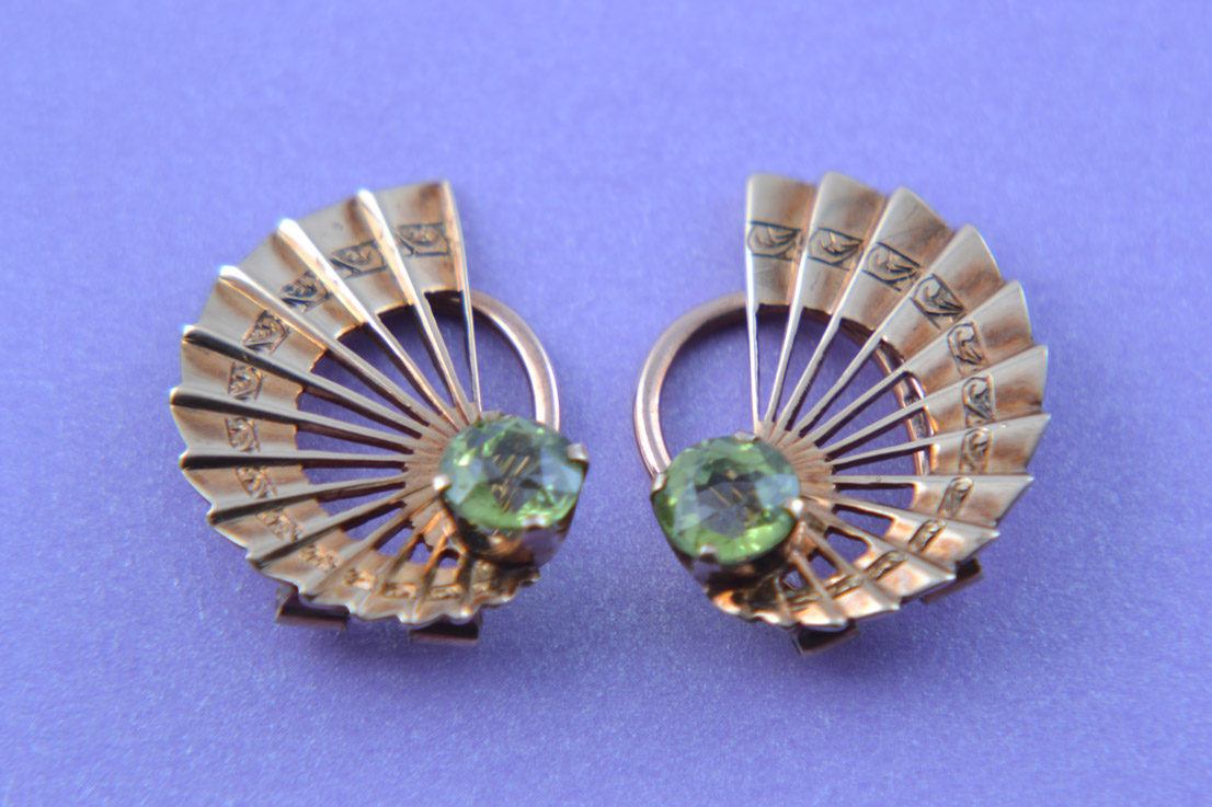 9ct Rose Gold 1950's Clip On Fan Earrings With Peridot