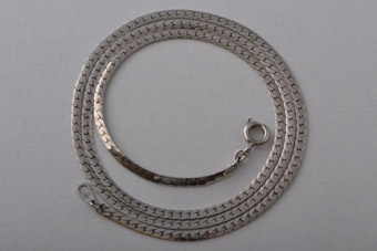 9ct White Gold Modern Flat-Link Chain