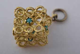 18ct Yellow Gold Cubed Charm With Turquoise