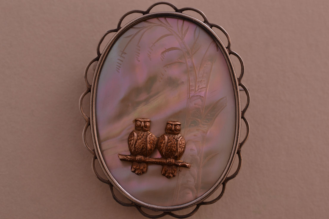 Silver Vintage Owl Brooch With Mother-Of-Pearl