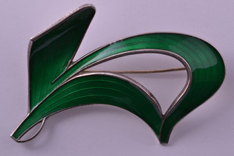 Silver And Enamel Retro Norwegian Holth Brooch