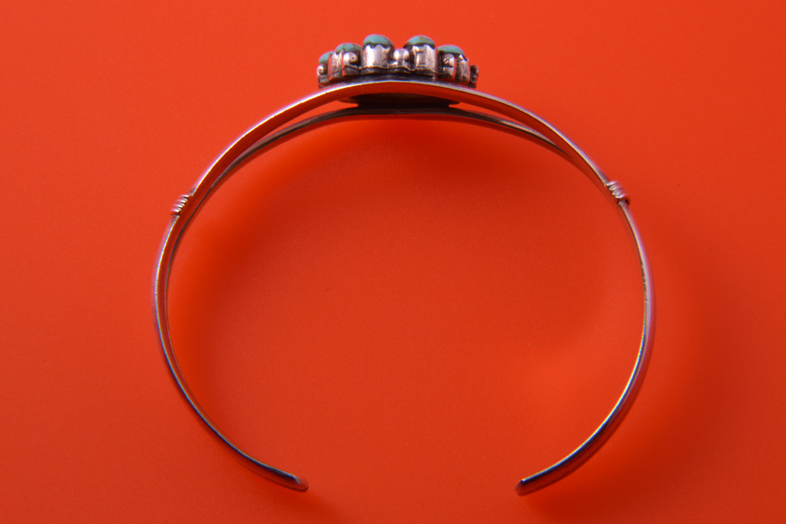 Silver Vintage Native American Bangle With Turquoise And