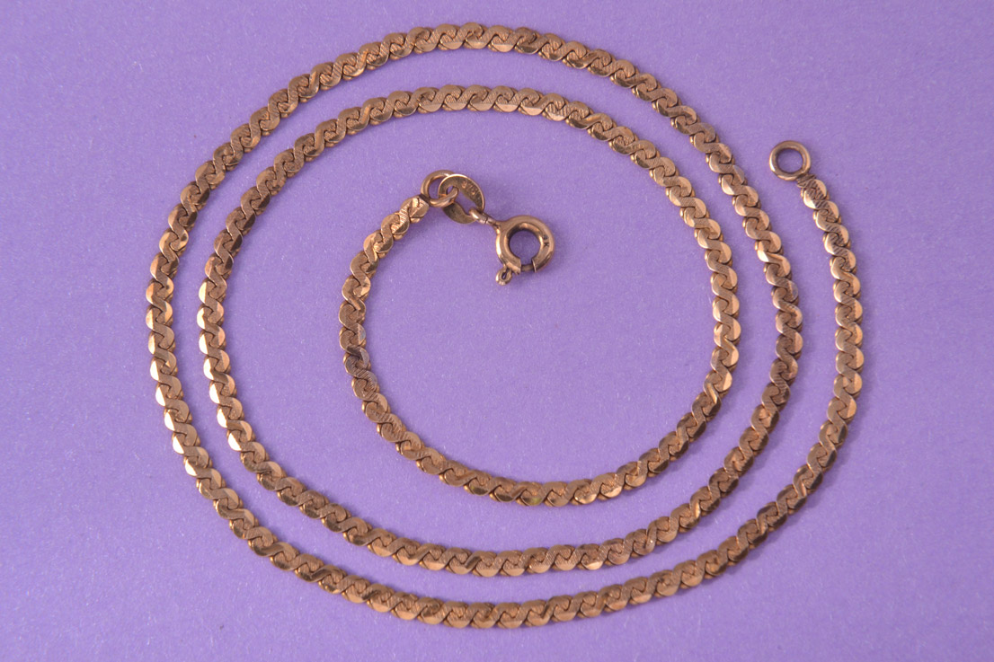 9ct Yellow Gold 1970's Flat-Link Chain