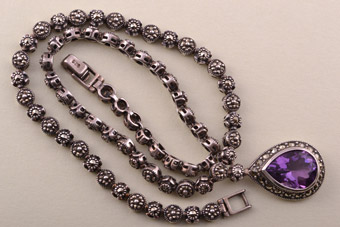 Silver Vintage Necklace With Marcasite And An Amethyst