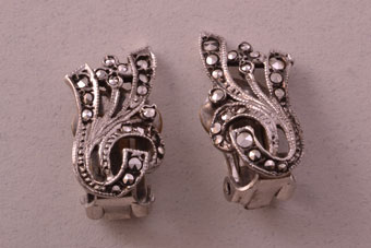 Silver Art Deco Clip On Earrings With Marcasite