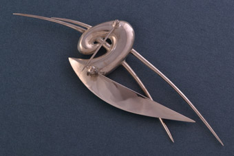 Silver Modernist Brooch