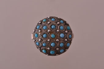 Silver Vintage Bombe Ring With Turquoise