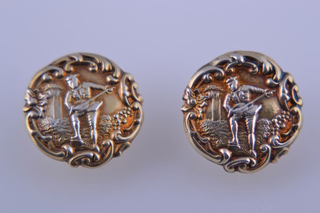 Silver Gilt Victorian Screw On Earrings
