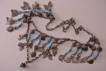 Vintage Silver Ethnic Tassel Necklace With Glass Beads