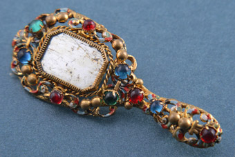 Gilt 1950's Hand Mirror Brooch With Paste