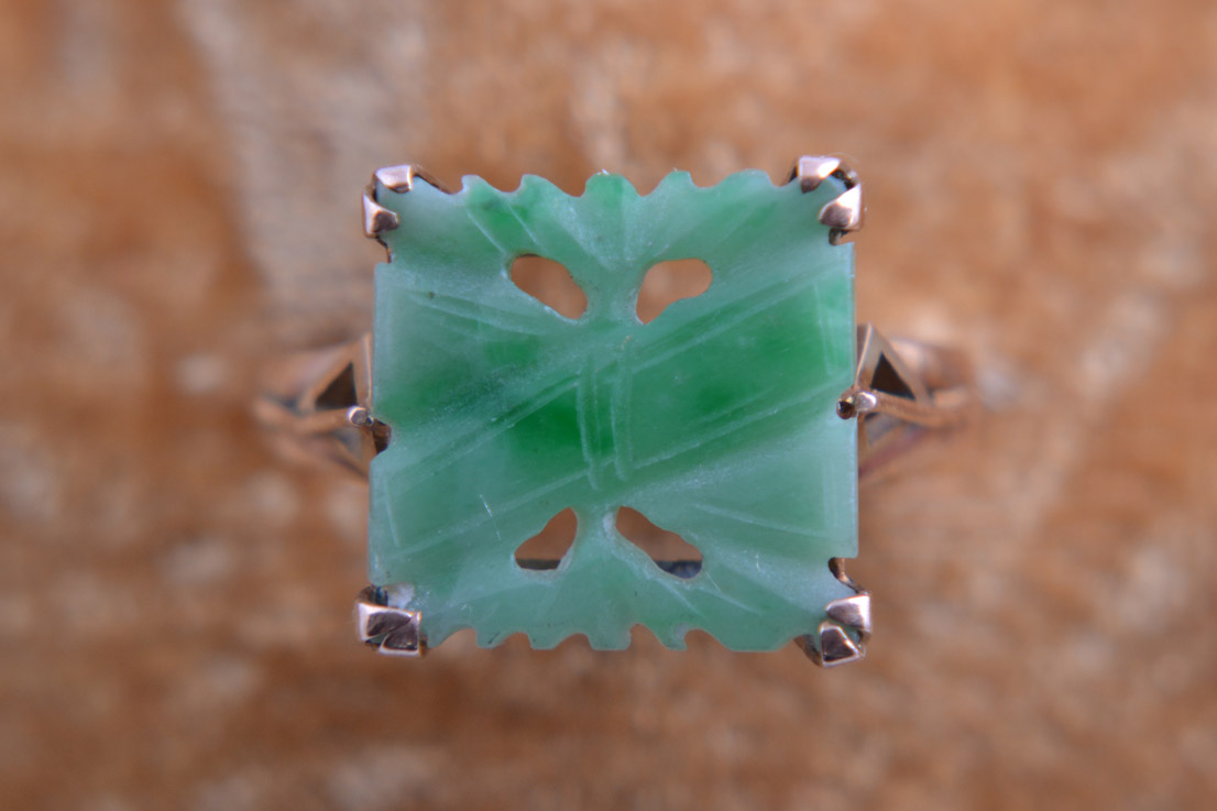 9ct Gold Vintage Ring With Jade