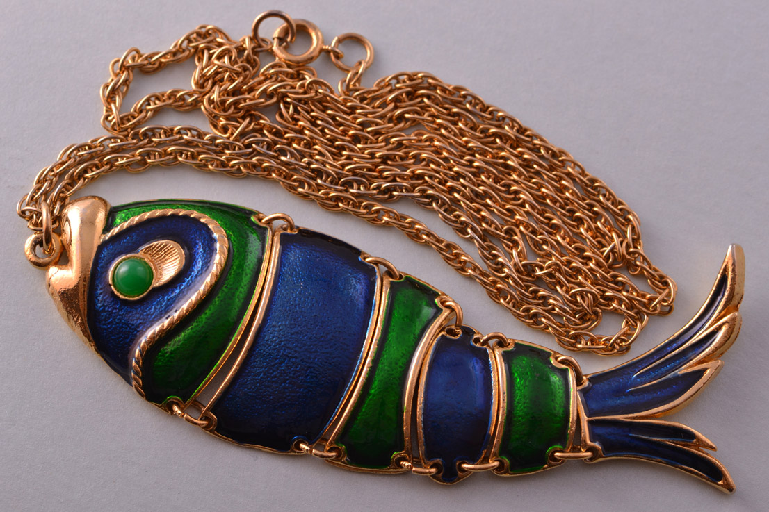 Gilt And Enamel Vintage Articulated Fish Pendant / Necklace