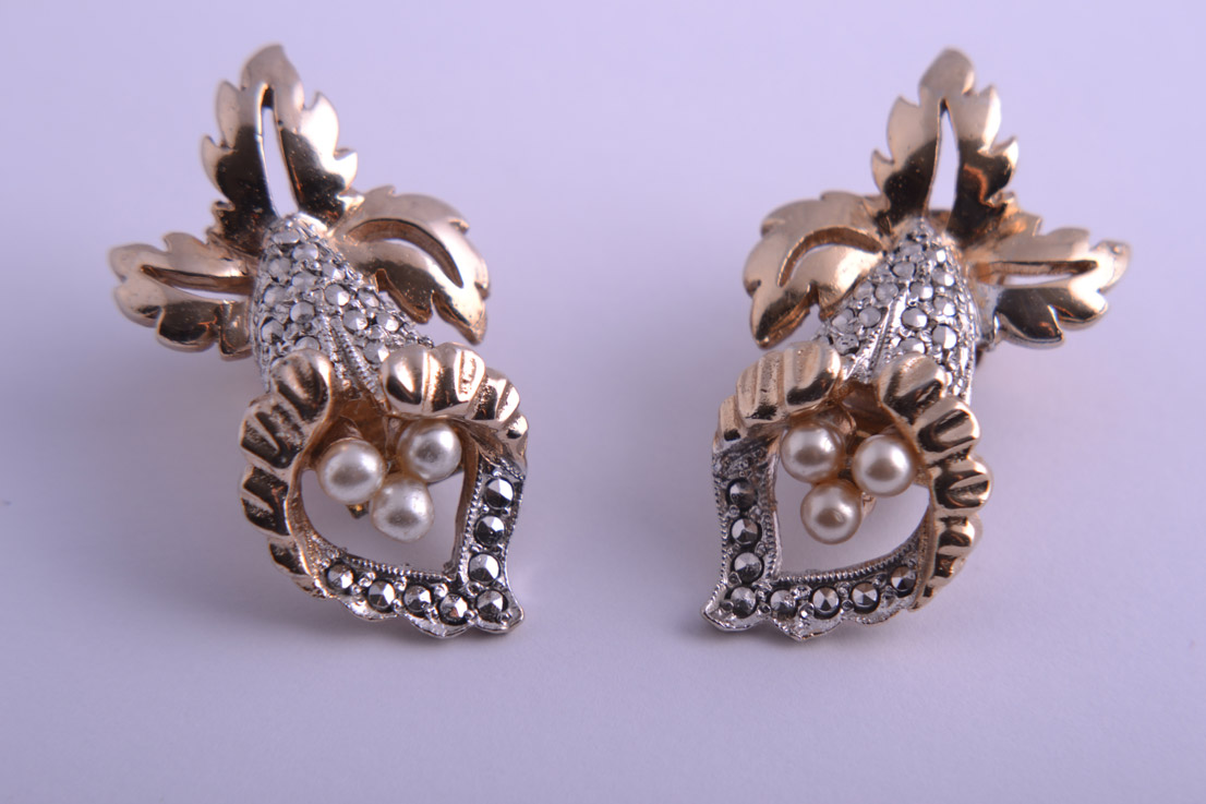 Kigu Orchid Clip On Earrings With Marcasite And Faux Pearls