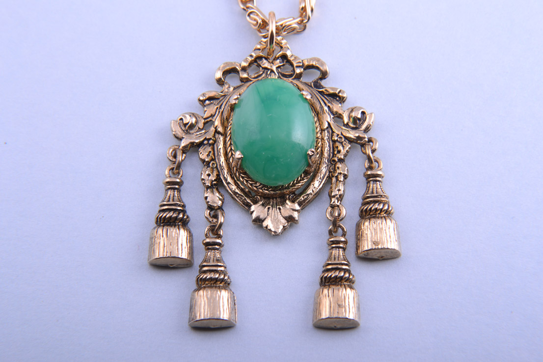 Gilt 1960's Pendant  With Tassels And Green Stone