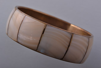 Brass Vintage Bangle With Mother-Of-Pearl